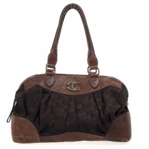 Just Cavalli Brown Leather and Monogram Bag