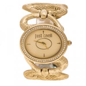 Roberto Cavalli Gold Tone Serpenti R7253577591 Women's Wristwatch 36 mm