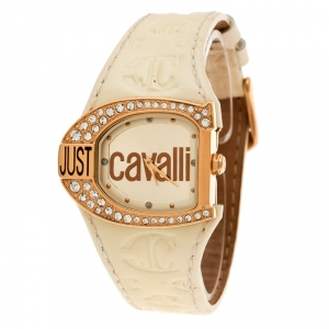 Just Cavalli Gold Plated Stainless Steel JC Logo 2H 7251160575 Women's Wristwatch 35 mm