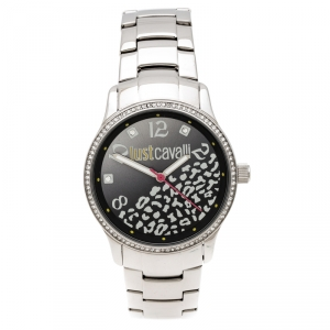 Just Cavalli Black Stainless Steel Crystal Embellished Huge R7253127511 Women's Wristwatch 38 mm