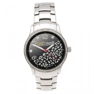 ساعة يد نسائية جاست كافالي هاج R7253127511 مزخرفة كرستال ستانلس ستيل سوداء 38 مم