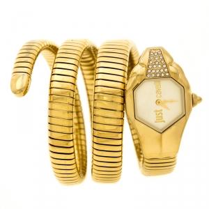 ساعة يد نسائية جست كافالي غلام شيك 1L022 ستانلس ستيل مطلي ذهب أصفر 22 مم