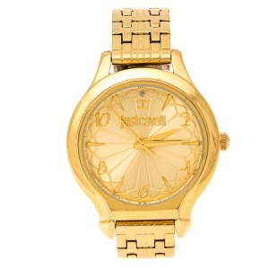 Just Cavalli Yellow Gold Plated Stainless Steel R7253533501 Women's Wristwatch 36 mm