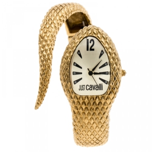 Just Cavalli Champagne Gold Plated Stainless Steel Serpent Bracelet Poison Women's Wristwatch 27 mm