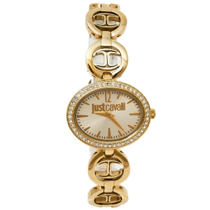 Just Cavalli Gold Tone Stainless Steel JC7253214504 Women's Wristwatch 32 mm