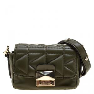 Karl Lagerfeld Olive Green Leather Mini K/Kuilted Crossbody Bag