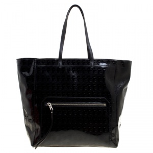Karl Lagerfeld Black Coated Canvas Large Kache Shopping Tote