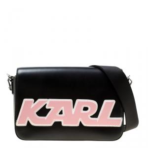 Karl Lagerfeld Black Leather k Sport Shoulder Bag