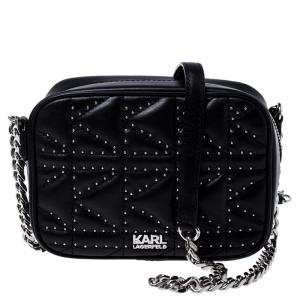 Karl Lagerfeld Black Leather K/Kuilted Studs Camera Bag