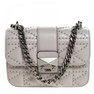 Karl Lagerfeld Taupe K Kuilted Studs Crossbody Bag