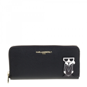 Karl Lagerfeld Black K Ikonik Zip Around Wallet