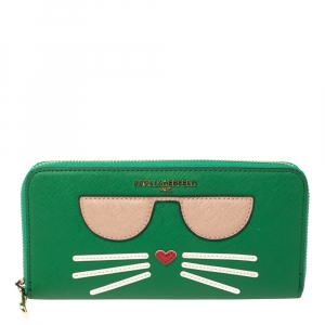 Karl Lagerfeld Green Leather Choupette Zip Around Wallet