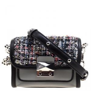 Karl Lagerfeld Grey Leather and Tweed Crossbody Bag