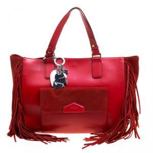 Karl Lagerfeld Red Leather Fringe Shopper Tote