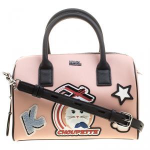 Karl Lagerfeld Blush Pink Coated Canvas K/Jet Choupette Mini Duffel Bag