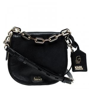 Karl Lagerfeld Black Leather Small K Shoulder Bag
