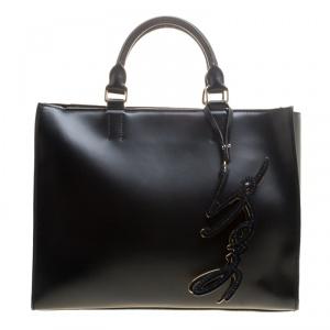 Karl Lagerfeld Black Leather K Signature Shopper Tote