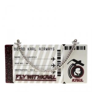 Karl Lagerfeld Silver Glitter Acrylic Jet Boarding Pass Minaudere Clutch