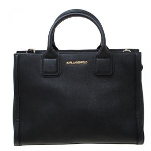 Karl Lagerfeld Black Leather K Klassik Tote