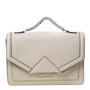 Karl Lagerfeld Ivory Leather K Klassik Top Handle Bag