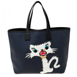Karl Lagerfeld Navy Blue Leather Monster Choupette Shopper Tote