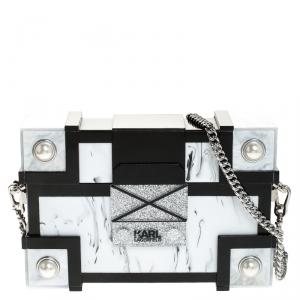 Karl Lagerfeld Black/White Treasure Box Chain Clutch