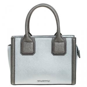 Karl Lagerfeld Metallic Silver Leather Mini K Klassik Tote