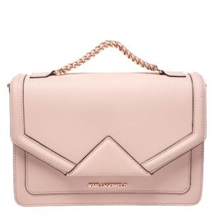 Karl Lagerfeld Blush Pink Leather K/Klassik Shoulder Bag