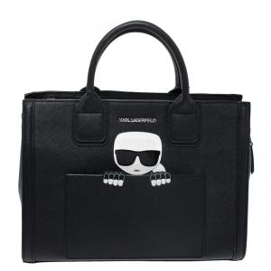 Karl Lagerfeld Black Leather Ikonik Tote
