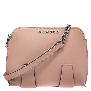 Karl Lagerfeld Light Peach Leather Chain Shoulder Bag