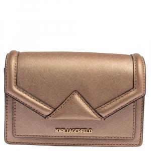 Karl Lagerfeld Metallic Rose Gold Leather Mini K/Klassic Crossbody Bag
