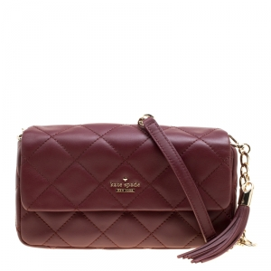 Kate Spade Burgundy Leather Emerson Place Serena Shoulder Bag
