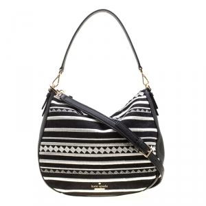 Kate Spade Monochrome Canvas and Leather Top Handle Shoulder Bag