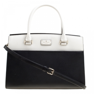 Kate Spade Black/White Leather Grove Street Caley Top Handle Bag