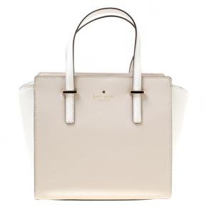 Kate Spade Beige/White Leather Small Cedar Street Hayden Top Handle Bag