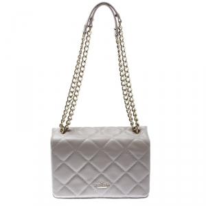 Kate Spade Grey Quilted Leather Emerson Place Vivenna Shoulder Bag