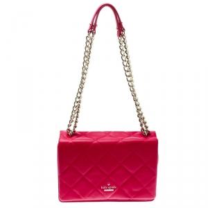 Kate Spade Hot Pink Quilted Leather Emerson Place Vivenna Shoulder Bag