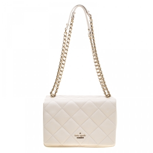 Kate Spade Off White Quilted Leather Emerson Place Vivenna Shoulder Bag