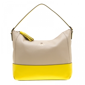 Kate Spade Beige/Yellow Leather Southport Avenue Hobo