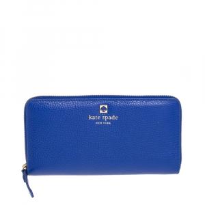 محفظة كيت سبيد سحاب ملتف غراند بارك ندا جلد أزرق
