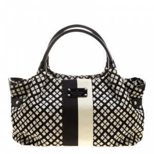 Kate Spade Black/White Canvas and Leather Stevie Satchel