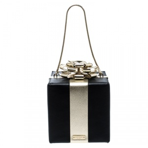 Kate Spade Black/Gold Leather Steal The Spotlight Square Gift Box Clutch