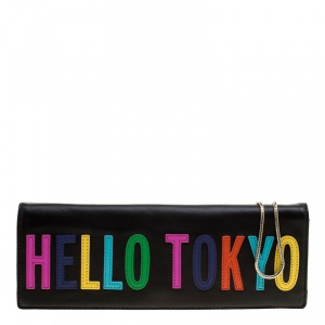 Kate Spade Black Leather Hello Tokyo Zena Clutch