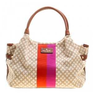 Kate Spade Beige/Brown Canvas and Leather Stevie Bag