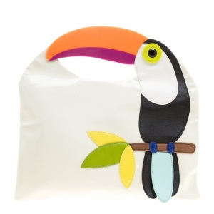 Kate Spade White Patent Leather Toucan Bird Clutch