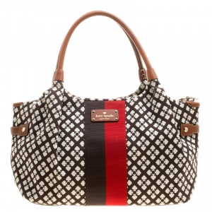 Kate Spade Brown Monochrome Printed Canvas and Leather Stevie Bag