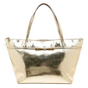 Kate Spade Gold Mirrored Embossed Thermoplastic Tote