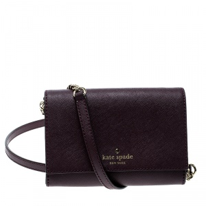 Kate Spade Burgundy Leather Cedar Street Cami Crossbody Bag