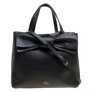 Kate Spade Black Leather Bow Top Handle Bag