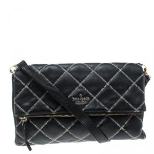 Kate Spade Black Leather W Contrast Stitch Shoulder Bag